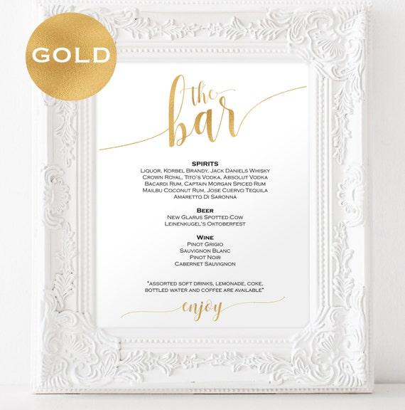 Gold Bar menu wedding - Bar menu sign - Drinks Sign - Bar menu printable - Gold wedding printable - Downloadable wedding signs #WDH0229