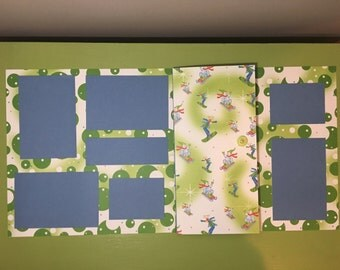 Snowman snowboard blue/green 12x12 premade layout