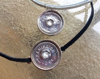 Shotgun shell chokers with gem and choice of suede color