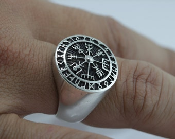 Vegvisir Viking Wikinger Icelandic Runes Asatru Compass Norse Sterling Silver Ring