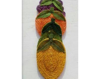 Vintage Abaca Hemp Fruit Coasters/Decor-Assorted Fruit-Boho Trivet
