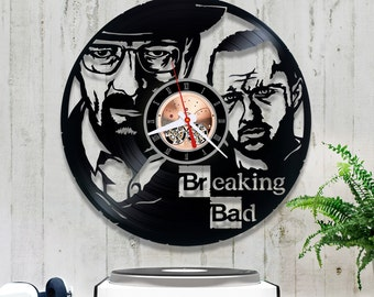 Breaking Bad Vinyl Clock/Wall Clock *V137 Vinyl Record Clock/Crime Drama Walter White Jesse Pinkman Clock/Wall Vinyl Clock/Record Wall Clock