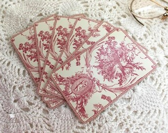 Vintage Playing Cards,  Red Toile Cards, French Cards, Red Toile Playing Cards, RedToile Paper, French Playing Cards, French Playing Cards