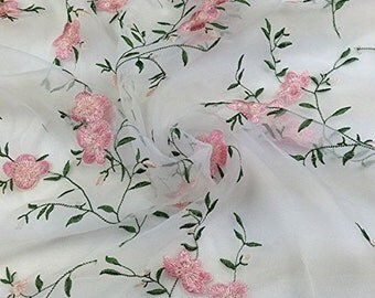 """47"""" Embroidery Organza Lace Fabric with Plant Flowers by the Yard"""