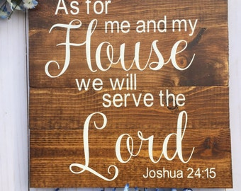 As For Me and My House, Joshua 24:15, Pallet Sign Scripture Wall Art, Verse on Wood, Bible Verse Art, Bible Verse Sign, Housewarming Gift