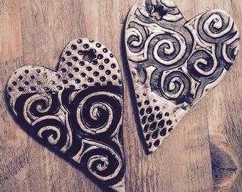 Hand built ceramic heart