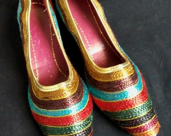 Multicolored Ribbon Wedge heels, size 8 Vintage