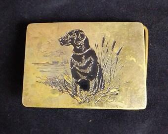 Vintage Black Labrador Brass Belt Buckle, Ampersand Brass Kalamazoo Michigan