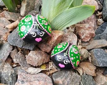 Rock art, painted rock , painted stone, garden decor,  mandala, acrylic painting lady bugs, perfect gift, home decor