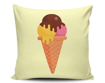 Three Balls - Throw Pillow - Home Decoration, Couch, Sundae, Dessert, Food, Vector Art