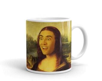 Mona Cage - Mug - Nicolas Cage, Mona Lisa, Portrait, Funny, Art