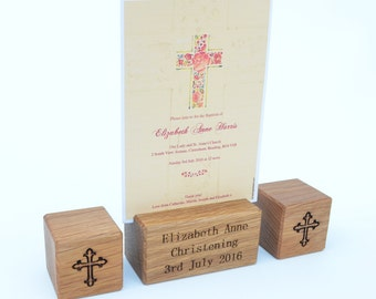 Christening Gift - Personalised - Engraved Name & Date Wooden Photo Blocks - Baptism Present and Keepsake