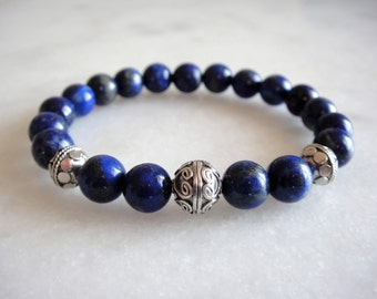 Sterling silver and lapis lazuli bracelet