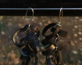 "Bike tube ""loops"" earrings"