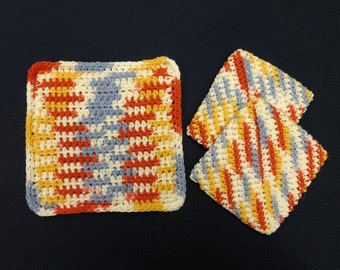 Pair of Crocheted Potholders and Hotpad Set, 100% Cotton, double thick, (Blue, Yellow, Orange, & White)