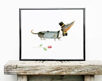 Dapper Dachshund Art Print   Dog Wall Art   8x10 Illustration   Kid's Room Decor