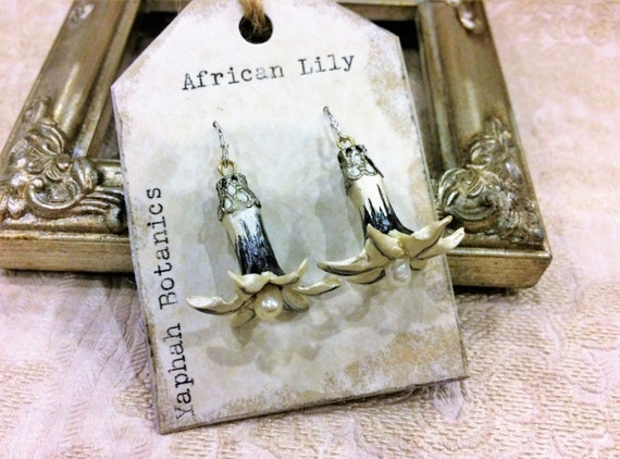 African Lily Sterling Silver Earrings, Botanical Jewelry