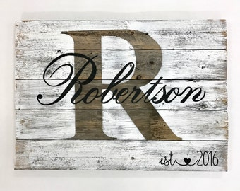 Rustic Family Established Sign