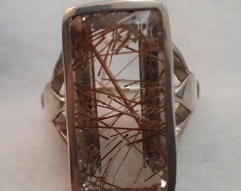 Rutilated quartz ring in sterling silver - free shipping - turningleafjewelryco - fashion ring - statement ring - retirement gift -