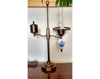 LAMP LAMPLIGHT VINTAGE (electric Reproduction) ceramic flowered/Bronze fixture old
