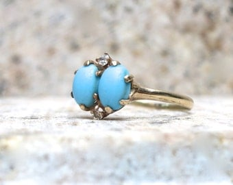 Victorian Turquoise Ring, Vintage Engagement Ring, Persian Turquoise and Diamonds