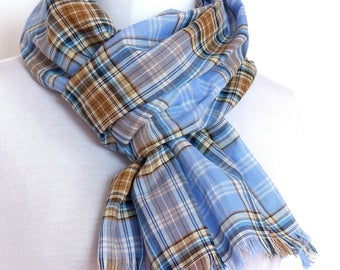 Snood Scarf, Check Tartan, Light Blue & Brown