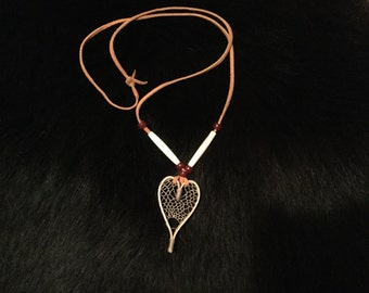 Hand Made Sweetheart Heart Shaped Miniature Snowshoe Necklace