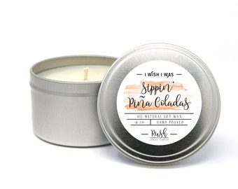 Soy Candle. Pina Colada Candle. Coconut Scented. Pineapple Fragrance. Travel Tin Candle. Home Fragrance. All natural soy wax. Fruity Candle