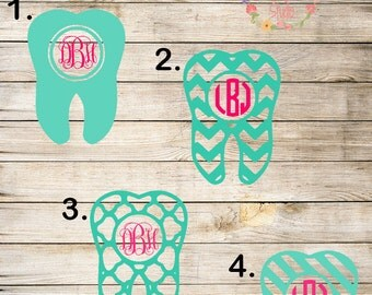 Tooth Monogram Decal. Dentists. Dental Hygienists. Dental Assistants. Monogram sticker. Car decal. Cup decal. Laptop decal. Sticker. Gift.