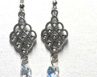 Silver chandelier earrings with Swarovski crystal charm