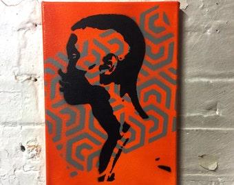 Man Head Stencil Art / Canvas Painting / Spray Art