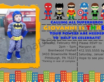 Custom Superhero Birthday Invitation