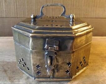 Vintage Brass Hexagonal Incense Burner or Souvenir Box