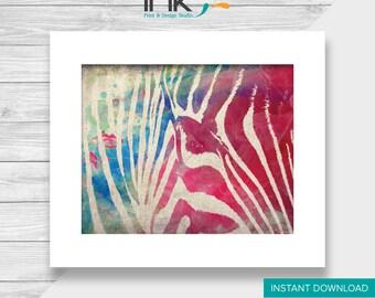 Watercolor Effect Zebra, Printable, Instant Download, Wall Art