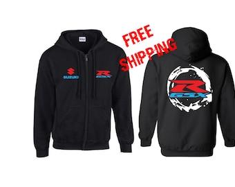 SUZUKI GSXR PRINTED Hoodie Full Zip Hooded Sweatshirt
