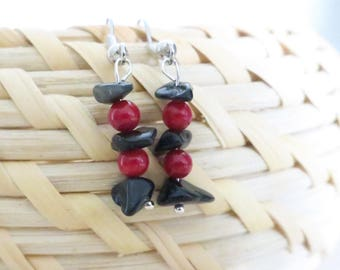 Black obsidian and red bead earring