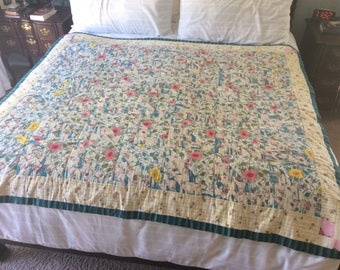 Summertime quilt 1950's water and roses. Has all vintage fabric.  Cottage quilt!