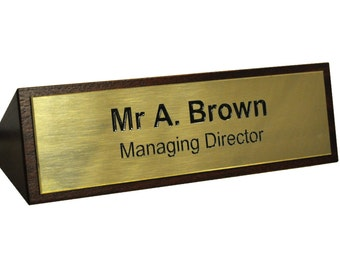 Mahogany Desk Sign with Engraved Solid Brass front plate. Name plate. Desk name.