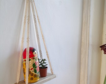 Shelf swing Swing to suspend macramé off-white white