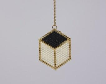 """Chain Hexagon """"Black white gold"""""""