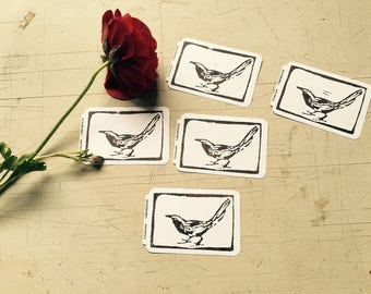 Starling Linocut Hand-printed on Label Sticker