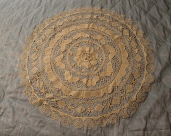 Vintage Large Ecru Crocheted Doily with Butterly detailing
