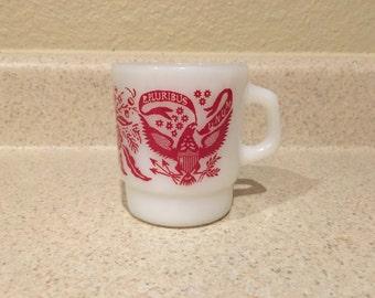 Fire King E. Pluribus Unum Milk Glass Mug