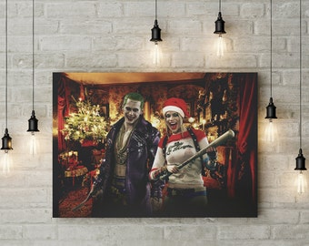 Harley Quinn and Joker Poster Suicide squad print home decor wall art dc birthday party supplies for kids for man for woman for him for her