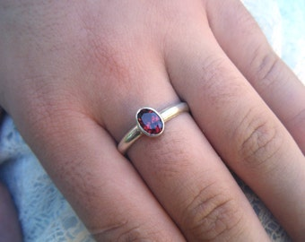 Garnet ring, simple silver ring, bezel setting no claws, engagement ring, promise ring, January birthday birthstone, Valentines, engraving
