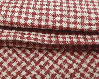 "Vintage Waverly Kitchen Curtain Valence Red and Beige Check Checker Lined 17"" x 78"" Window Treatment Cotton Fabric Country Farmhouse Decor"