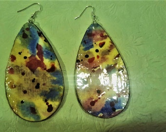 tear drop shaped water color earrings