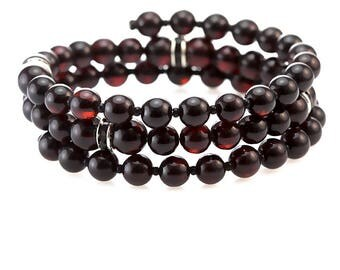 Amber, natural stone,  bracelet, color : cherry