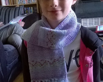 Hand made scarf in multi-tonal purple with flecks of pink and green