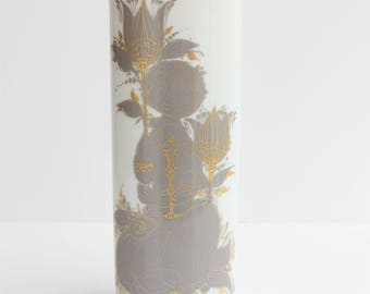 "Rosenthal / Porcelain Vase  / ""Samuramat"" / Bjorn Wiinblad / Nymolle / Denmark / Grey and Gold Figurative / Original Packaging Box / Unused"